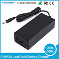 13.8V 3A Rechargeable 3-Stage Smart Lead Acid Battery Charger for 12V Electric Scooter Lead Acid Battery