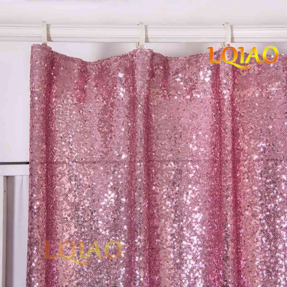 LQIAO 60x250cm Pink Gold Iridescent Shimmer Sequin Fabric Photography Backdrop Curtains For Wedding Party Bedroom Decor In From Home