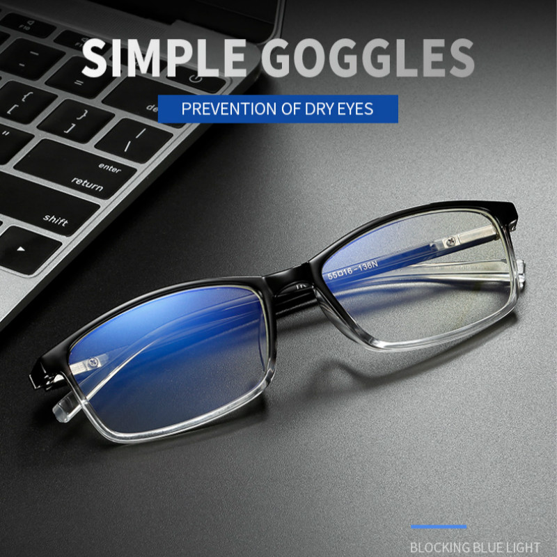 2019 Square Reading Glasses Men's Anti Blue Light Computer Eyeglasses Women Far Sight Glasses Black Frame UV Protection Eyewear