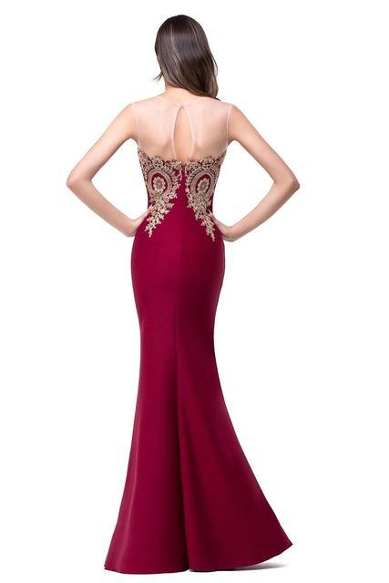 Robe de Soiree Longue Sexy Backless Red Mermaid Lace Evening Dress Long Cheap Appliques Evening Gowns Vestido de Festa 2