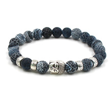 Buddha head Stone Mens Beaded Jewelry 8mm Lava Stone Beads Bracelets Party Gift Stretch Yoga Jewelry