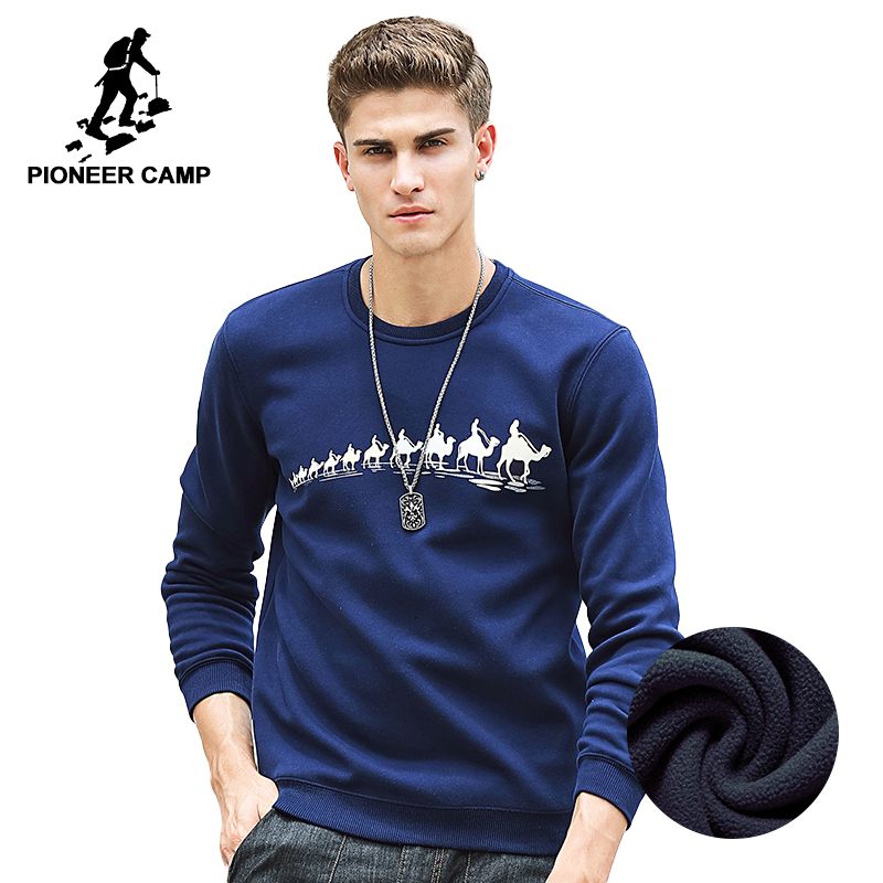 Pioneer Camp Autumn Winter Fleece Printed winter T shirt men brand clothing Fashion Male thick T shirt quality Tshirt  305114