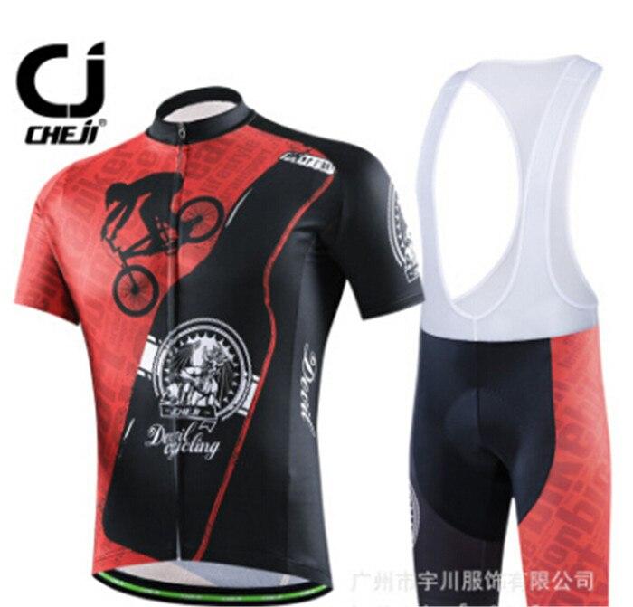 ФОТО 2017 New Short sleeves black red bike Cycling Jersey (bib) Shorts Sets quick dry