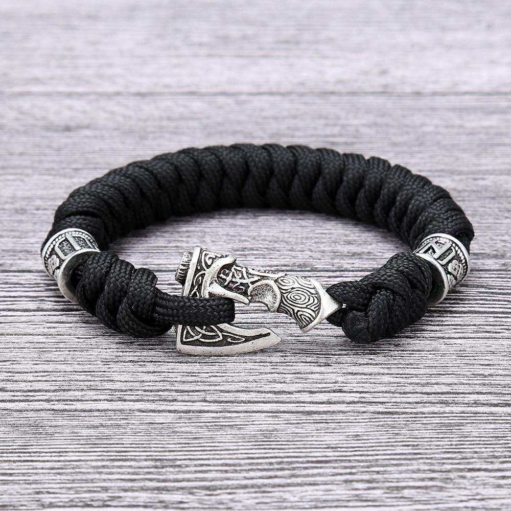 Handmade Viking Runes Beads Scandinavian Norse Axe Bracelet Nordic Rune Ax Bangle Paracord Rope Bracelets Men Jewelry Gift