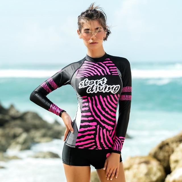 15cc240cdc4c € 20.39 31% de DESCUENTO|SBART mujeres protector solar de manga larga Rash  guardia traje de baño camisetas de natación para baño protección UV ...