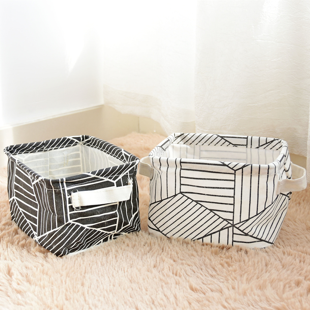 Mini Desktop Storage Basket Cotton Linen Fabric Toys Cosmetic Makeup Storage Box Candy Snacks Sundries Holder Organizer 2pcs/lot