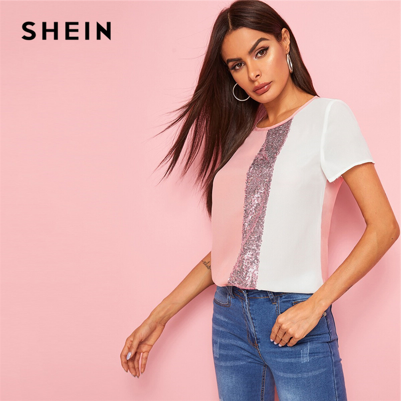 SHEIN Sequins Contrast Panel Spliced Cut-And-Sew Top Womens Tops and Blouses 2019 Casual Colorblock Short Sleeve Summer Blouses 1