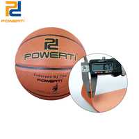 Powerti Official Size 7 Basketball PU Leather Indoor&Outdoor Ball Brown Basketball with Pump PT 800 for Men