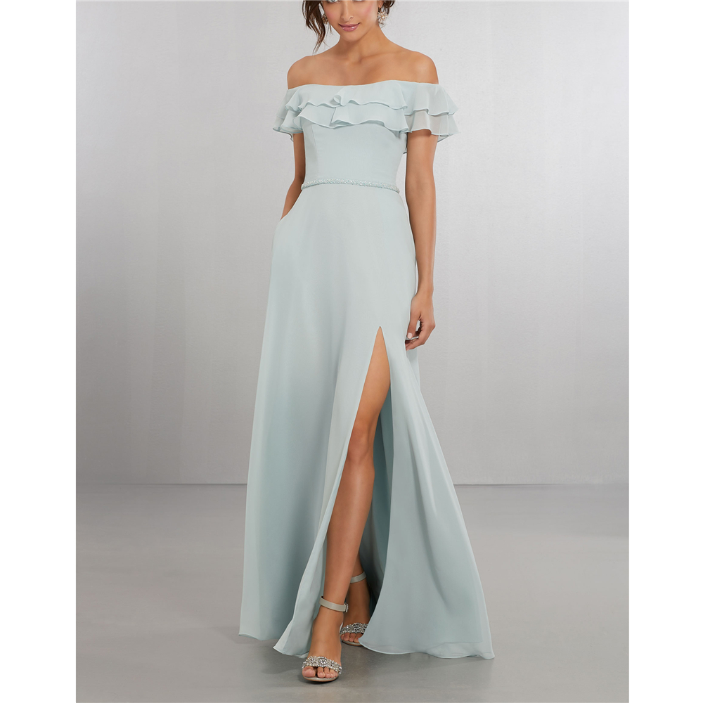 A-Line   dress     bridesmaid   Off The Shoulder Blue Princess Chiffon Front Splited Scoop   Bridesmaid     Dresses   vestido de festa longo