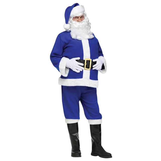 2017 New Year Costume for Boys Christmas Santa Claus Costumes Men Cosplay Blue Santa Claus Clothes High Quality Christmas Suit