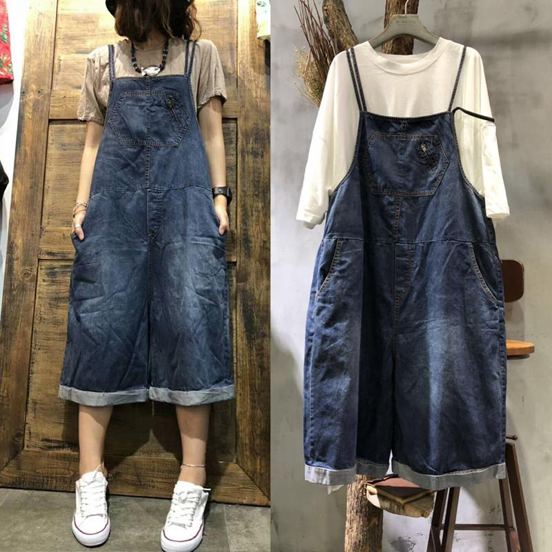Free Shipping 2019 New Fashion Women Wide Leg Loose Jumpsuits And Rompers With Pockets Half Length High Quality Overalls Jeans-in Rompers from Women's Clothing    1