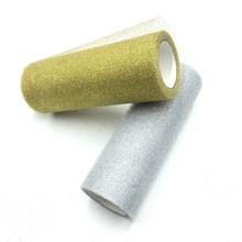 15cm*10y Glitter Sequin Tulle Roll 10Yds 15cm Spool Tutu Wedding Decoration Organza Laser DIY Crafts Birthday Party Supplies