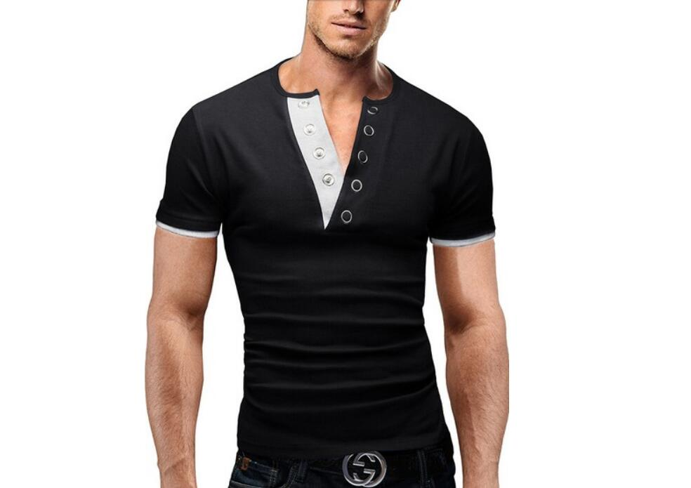 Men'S T Shirt 17 Summer Fashion V-Neck Short-Sleeved Tees Male Camisa Masculina T-Shirt Slim Male Tops XXL 6 colors 3