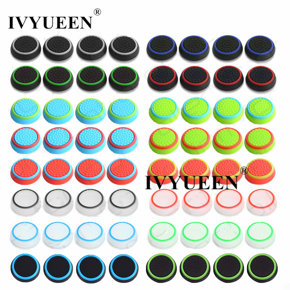 IVYUEEN 200 pcs 17 Colors Analog Thumb Stick Grips Caps for Dualshock 4 PS4 PS3 Controller Thumbsticks Cover For XBox One 360 2pcs metal thumb grips for ps4 blue