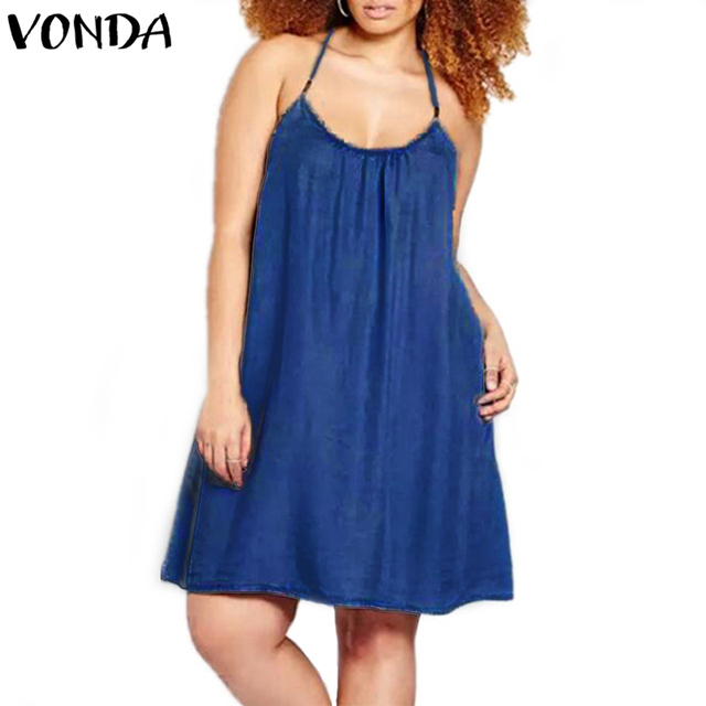 VONDA Women Sexy Mini Dresses 2018 Summer Casual Loose Sleeveless Halter Neck Spaghetti Strap Backless A-line Vestidos Plus Size