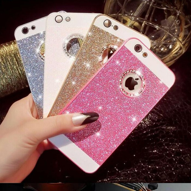 a76e7bcc0 Luxury Bling Glitter Logo Window Phone Case for iPhone 7 6 6S Plus Shinning Diamond  Sparkling Back Cover for iPhone6 S 5 5S SE