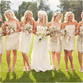 Cheap Champagne Lace Short bridesmaid dresses Sheath Wedding bridesmaids' Gowns Off the Shoulder sleeveless Party dress