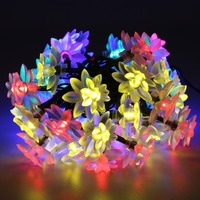 LED Solar Fairy String Light 5M 50led Lotus Flower Waterproof Outdoor Decoration Lighting Xams Fariy
