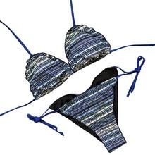 LIVA GIRL sexy women's print two-piece beach swimwear fashion low-cut bikini set push-up bra low waist backless swimsuit girls