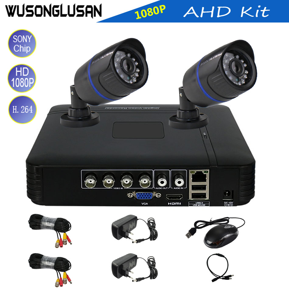 2CH AHD Bullet Cámara sistema HDMI salida 2.0MP 1080 p Sony CMOS Sensor IR Nightvision con 4 Canal 5 en 1 Kit DVR CCTV seguridad