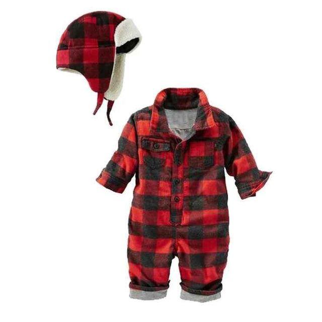 2017 Новый Дизайн Рождество младенца мальчики красный плед хлопок комбинезон шляпа набор симпатичные весна ребенок перемычки новорожденного комбинезоны 16N1103