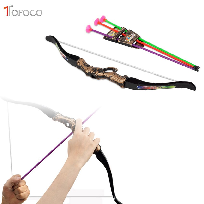TOFOCO Plastic Archery Bow Arrow Toys For Children Bow 35cm Arrow 30cm Sport Toys Outdoor Shooting Fun Toys For Kids