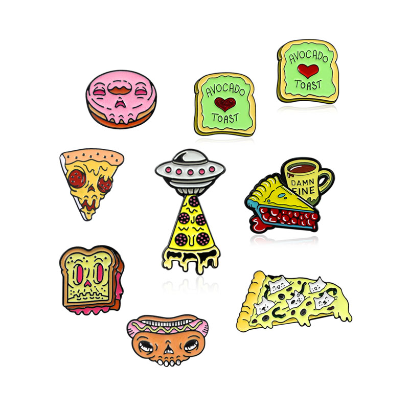Zombie Fast Food Skeleton Pins Donut Doughnut Hot dog Pizza Toast Cheese Badge