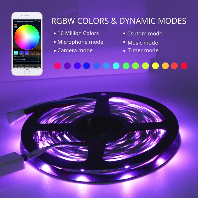 LED Under Cabinet light RGB RGBW RGBWW WIFI Strip 5M DC12V 5050 RGB ribbon diode Flexible lamp WIFI Controller + Power Adapter