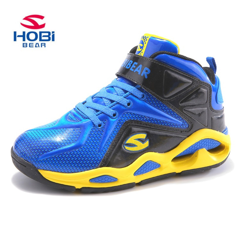Hobibear Royal Blue Black Damping Kids Sneakers Breathable Boys Outdoor Wear Resistant Children Sport Shoes AS3072 new hot sale children shoes comfortable breathable sneakers for boys anti skid sport running shoes wear resistant free shipping