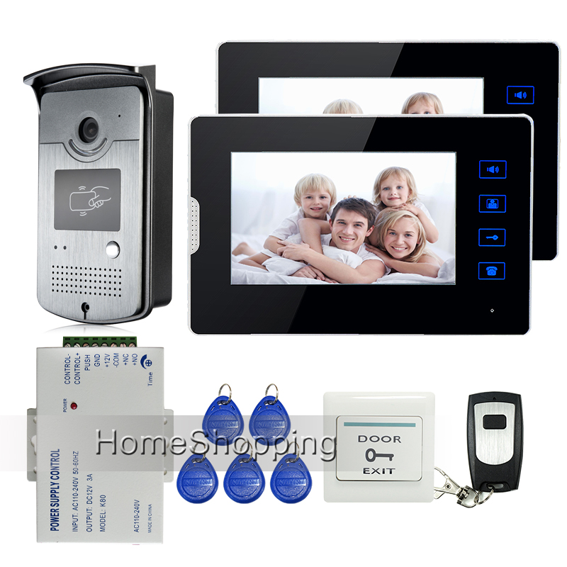 Apartment 7 Color Touch Screen Video Door Phone Intercom + 1 RFID Access Door Camera + 2 Monitors + Power Supply  Free Shipping my apartment
