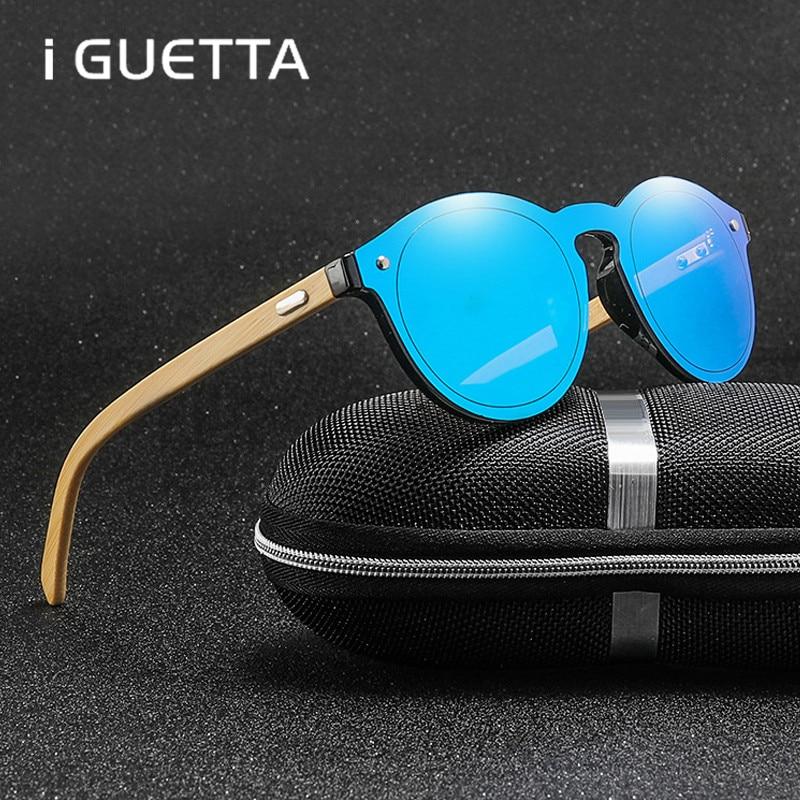 iGUETTA Bamboo Leg Polarized Sunglasses men Classic Round Fashion Retro Female sun glasses Shades Eyewear IYJC368