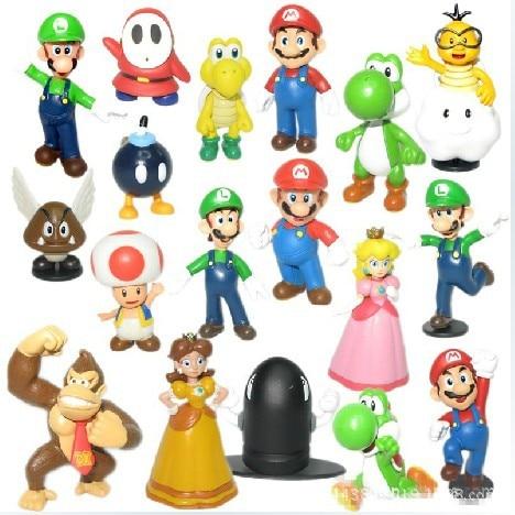 18PCS/Set Super Mario Bros PVC Mini Figure Toys Wario Luigi Donkey Kong Peach Bowser Yoshi Minifigures Boo Waluigi Toad Daisy