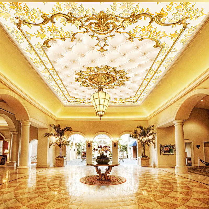 Custom Photo Wall Paper European Style Gold Pattern Ceiling Murals Hotel Restaurant Living Room Luxury Wallpaper Papel De Parede beibehang custom wall paper 3d white european carved blue sky white clouds ceiling ceiling murals background