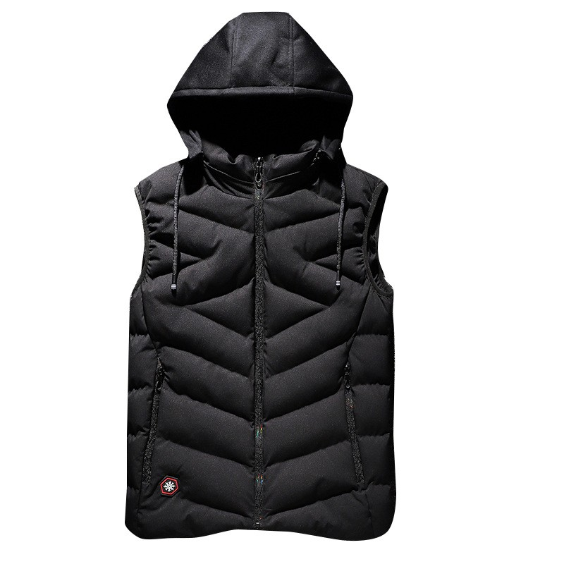 black snow winter plus size men's vest L 7XL 8xl male loose Wind proof man vest thick Down Outerwear & Coat with Hooded jacket