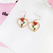hot deal buy fashion simple red roses dangle earrings retro metal heart pendant earrings rose fine jewelry accessories earrings for women