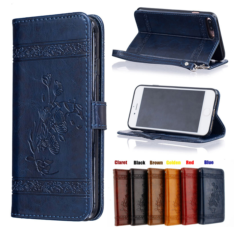 Fundas Case For iphone7 4.7 IPHONE7 Plus Luxury PU Leather Wallet Flip Shell Retro Back Cover Coque Phone Protection Holster