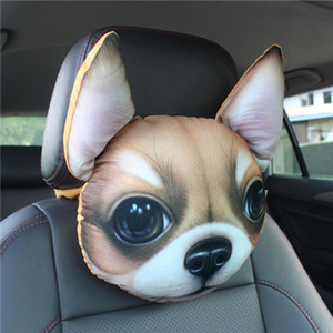 Image 3 - CHIZIYO Newest 2020 3D Printed Schnauzer Teddy Dog Face Car Headrest Neck Rest Auto Neck Pillow Without Filler