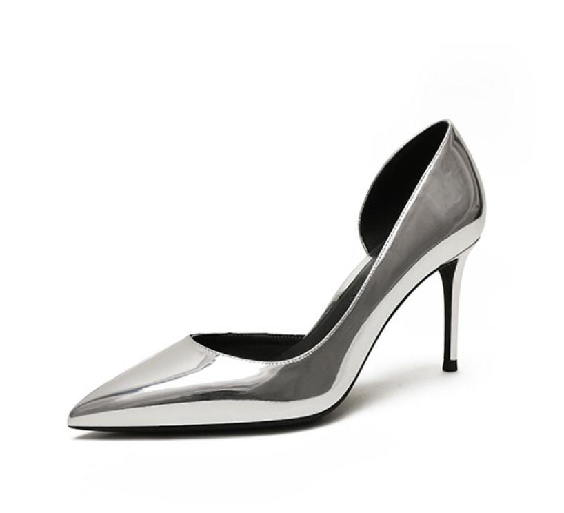 Real picture silver patent leather pointed toe wedding party bride bridesmaid open one side women lady
