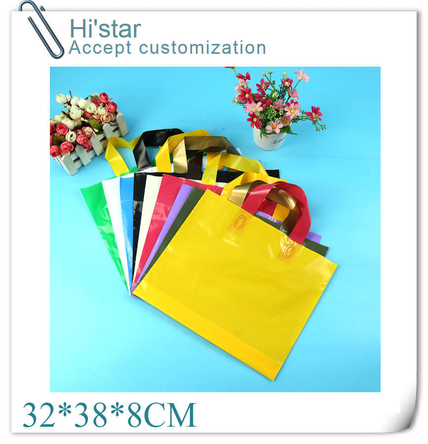 32*38+8cm 50 pieces/lot promotion design Logo available plastic Shopping Bag accept Customer