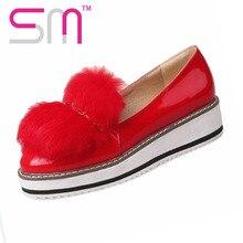 ขนC Harmโซ่แพลตฟอร์มรองเท้าผู้หญิงมาใหม่ผู้หญิงรองเท้าส้นเตี้ยรองเท้าฤดูใบไม้ผลิสบายๆแบนแต่เพียงผู้เดียวShorsขนาดใหญ่34-43 Zapatos Mujer
