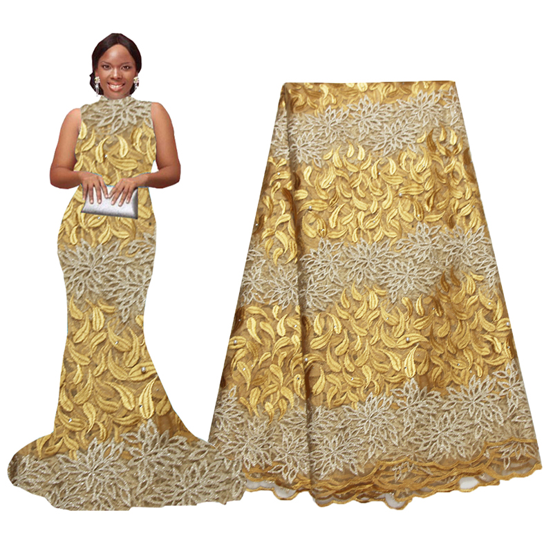 African Latest Lace Fabric Gold Nigeria Lace Fabric Embroidery Beaded Lace African Bridal Fabric 5 Yards
