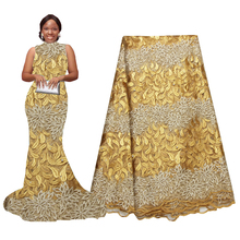 African Latest Lace Fabric Gold Nigeria Embroidery Beaded  5 Yards for Wedding Party