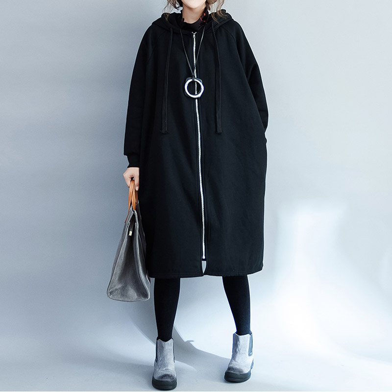 Plus Size   Trench   Coat Women Long Sleeve Black Thicken Velvet Long Black Coat Oversize Casual Loose   Trench   Hoodie Coats 5XL 6XL