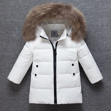 Winter Down Jacket For Girls Long Down Coats Fur Hooded Girls Children Winter Coat Fashion Boys Snowsuit Thicken Coat Warm Parka