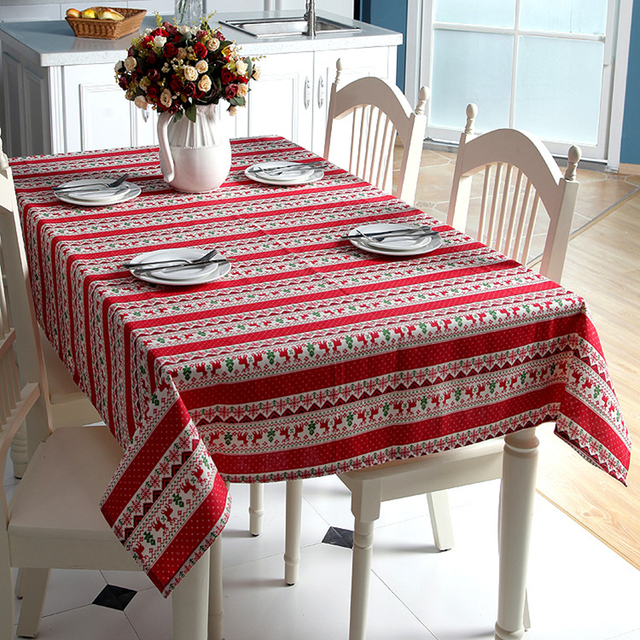 Customizable Linen Cotton Tablecloth Red Snowflakes Elk Christmas Tree Table Cloth For Wedding Banquet Washable