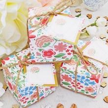 Бумага для рукоделия с цветочным принтом коробка конфет на свадьбу Baby Shower День рождения для вечеринок, на подарок, для конфет Подарочная коробка пустой карты