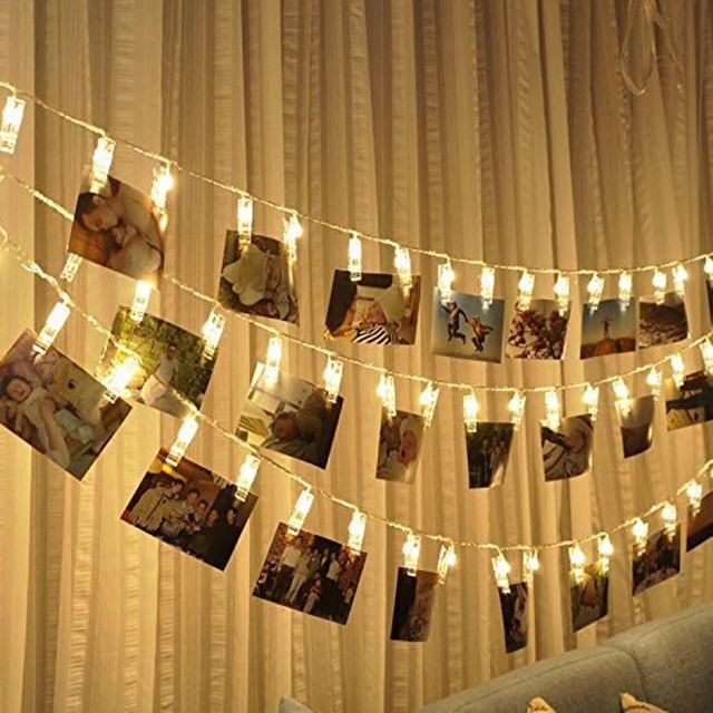 2M 20 LED Garland Card Photo Clip String Lights for  New Year Christmas Festival Party Wedding  Lamp Home Decoration led light
