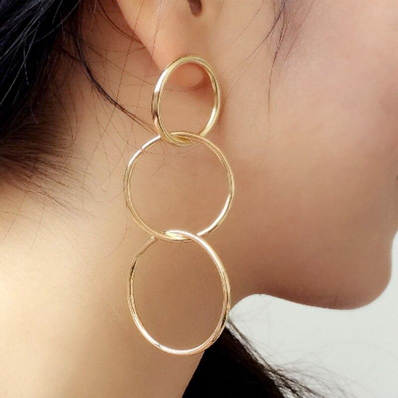 Длинные серьги-подвески для женщин, круглые золотистые геометрические круглые женские серьги, ювелирные изделия, аксессуары, металлически...
