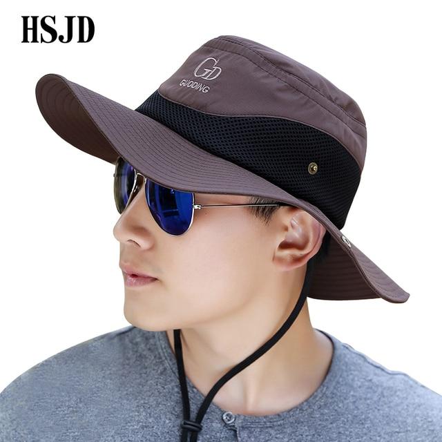 Outdoor Sport Hiking Visor Bucket Hat Men Wide Brim Breathable Waterproof  Sun Fishing hat UV Protection fisherman Cap Panama hat 8303c8b8e4a