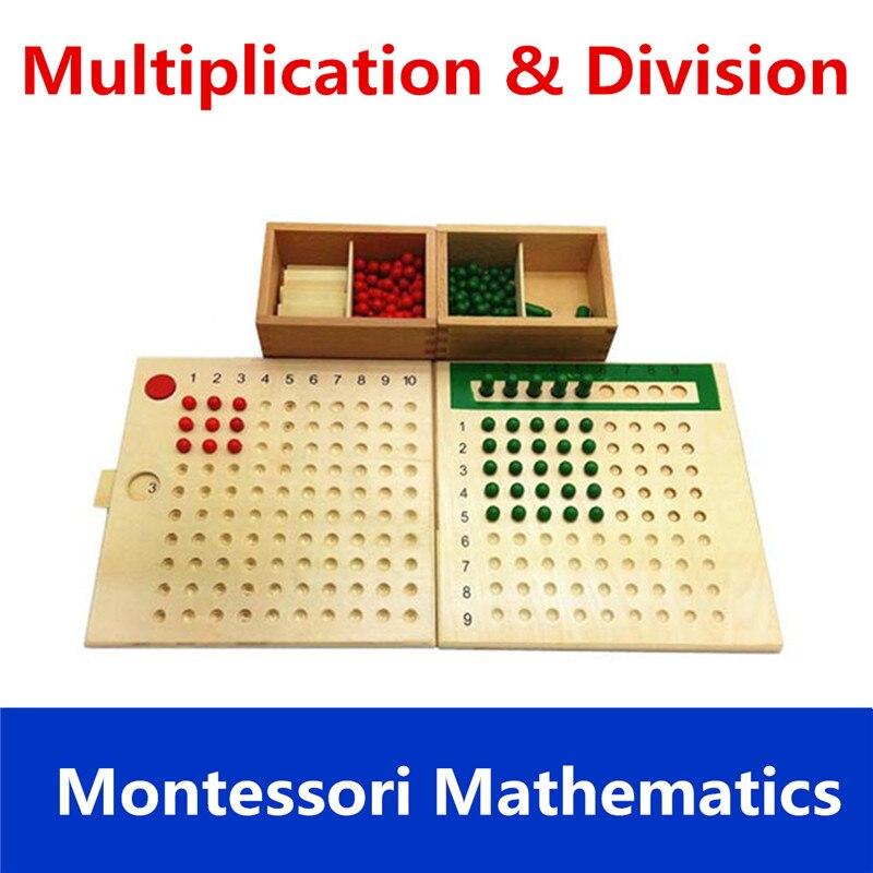 Nouveau En Bois Montessori Mathématiques Éducatifs Matériel Knobbed Cylindre Blocs D'apprentissage Education Math Jouets Puzzles Pour Enfants